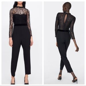 Zara Mesh Lace Contrast Long-Sleeved Jumpsuit